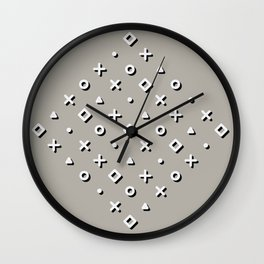 Diamond Pop Icons (White/Black on Dove Grey) Wall Clock