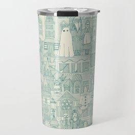 vintage halloween teal ivory Travel Mug