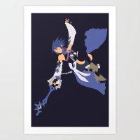 kingdom hearts Art Prints featuring Kingdom Hearts - Aqua by TracingHorses