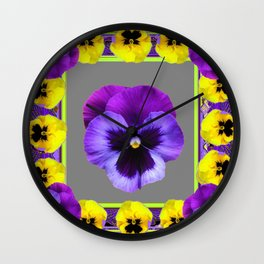 DECO PURPLE & YELLOW  PANSIES ON  GREY COLOR Wall Clock