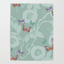trailing vine w butterflies Poster