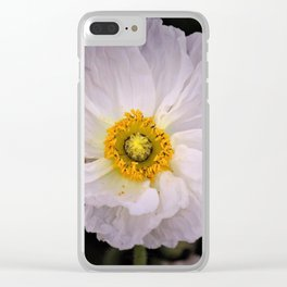 White with Yellow Center  Poppy by Reay of Light Photography Clear iPhone Case