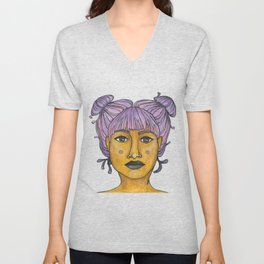 purple buns Unisex V-Neck