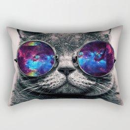 Galaxy Hipster Cat Rectangular Pillow