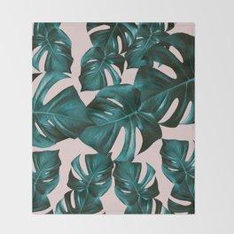 Monstera Leaves Pattern #4 #tropical #decor #art #society6 Throw Blanket