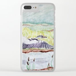 Flight of the Great Blue Heron, Trojan Oregon painting Clear iPhone Case