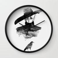 shinee Wall Clocks featuring  crow by helenwidjaja