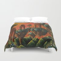 oasis Duvet Covers featuring Unsettled Oasis by bmeow