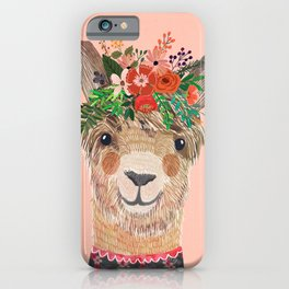 Llama with Flower Crown by Mia Charro iPhone Case
