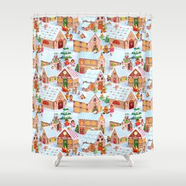 Gingerbread Village Shower Curtain