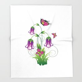 Bluebell Flower with Leaves Throw Blanket