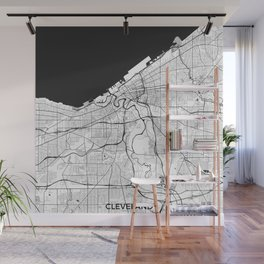 Cleveland Map Gray Wall Mural