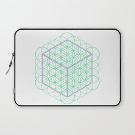 Sacred Geometry - glowing energy lines - cube and flowers Laptop Sleeve