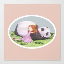Giant Panda snuggles in the sunshine Canvas Print