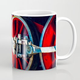 Red wheels, Rods, Valve Motion Of A Vintage Steam Locomotive Engine Coffee Mug