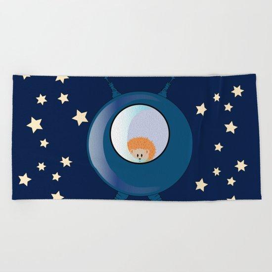 Hedgehog in space. Beach Towel