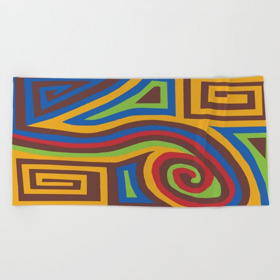 Red Swirl Beach Towel