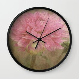 Soft Graceful Pink Painted Dahlia Wall Clock