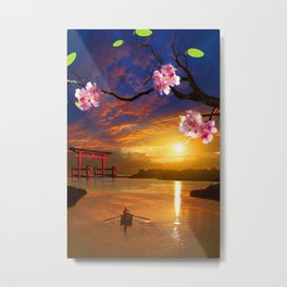 Cherry blossom And Sun Japan Metal Print