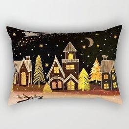 Gold Christmas Village Deer Winter Night  Rectangular Pillow