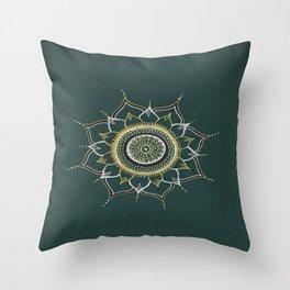 Gold & Silver Unalome Mandala Throw Pillow
