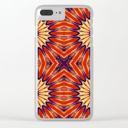 Coral Indigo Pinwheel Flowers Clear iPhone Case