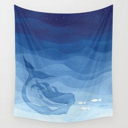 Mermaid, watercolor, blue, fish Wall Tapestry
