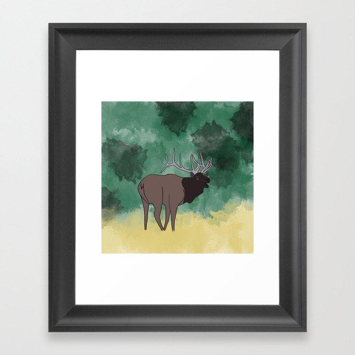 Bull Elk Bugling Framed Art Print