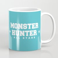 monster hunter Mugs featuring Monster Hunter All Stars - Moga Sea Dogs by Bleached ink