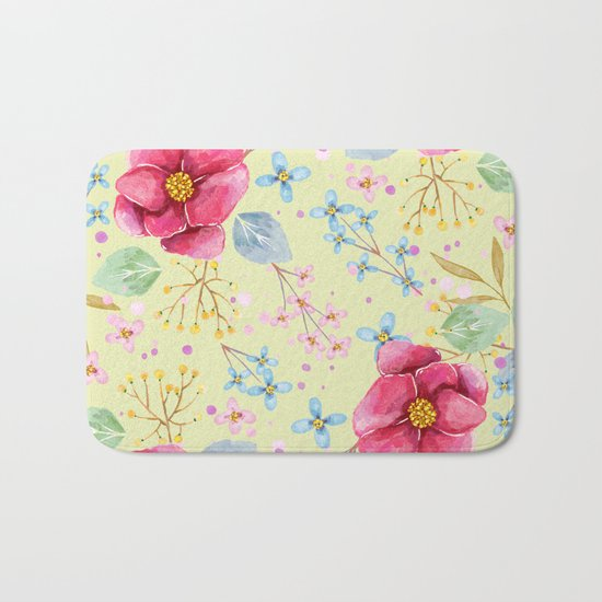 FLOWERS WATERCOLOR 5 Bath Mat