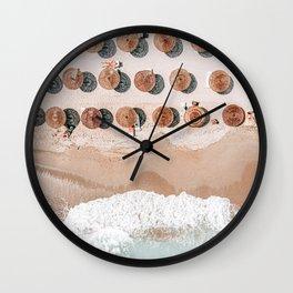 People On Beach, Aerial Drone Photography, Aerial Beach Sea, Ocean Wall Art Print, Summer Sea Vibes Art Print Wall Clock