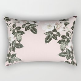 Bees + Blackberries on Pale Pink Rectangular Pillow