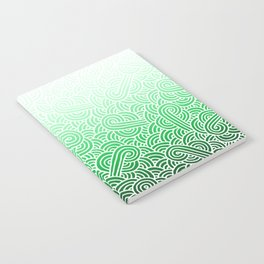 Ombre green and white swirls doodles Notebook