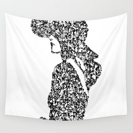 Kanji Calligraphy Art :woman's face #22 Wall Tapestry