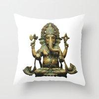 ganesha Throw Pillows featuring Ganesha by Justin Atkins