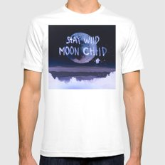 Stay wild moon child (purple) MEDIUM Mens Fitted Tee White