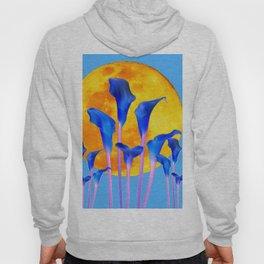GOLDEN FULL MOON BLUE CALLA LILIES BLUE ART Hoody
