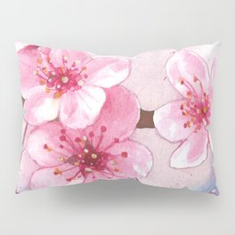 Cherry Blossoms Watercolor, Blue and Pink  Pillow Sham