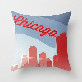 Chicago Skyline Travel Poster Throw Pillow
