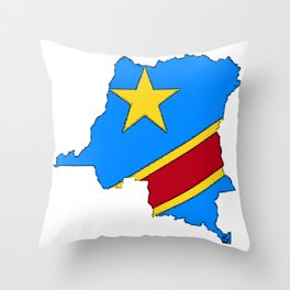 Democratic Republic of the Congo Map with Congolese Flag Throw Pillow
