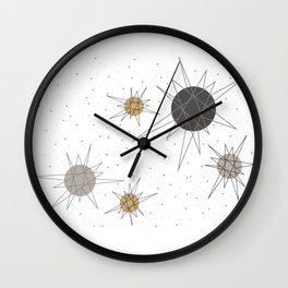 Atomic Stars Neutral Wall Clock