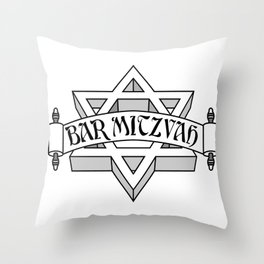 Bar Mitzvah with silver scroll &  Star of David  Throw Pillow