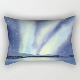 Northern Lights with Mountains and Lake Rectangular Pillow