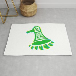 Go Green Eco Protest Illustration. Loudspeaker with Green Leaves Rug