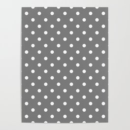 Grey & White Polka Dots Poster