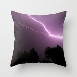 Purple Lightning Night Sky Throw Pillow