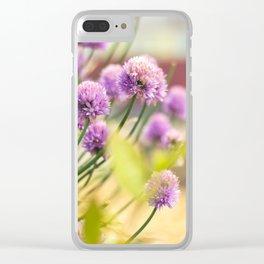 Purple Clover Flower Clear iPhone Case