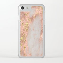 Rose Gold Marble with Yellow Gold Glitter Clear iPhone Case