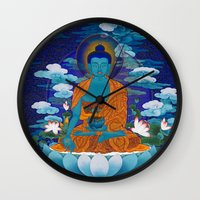 medicine Wall Clocks featuring Medicine Buddha by Kalsang Dawa