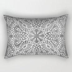 Mandala Vintage White on Ocean Fog Gray Rectangular Pillow